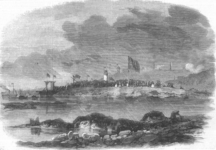 Associate Product NORTHUMBERLAND. Low-Lights Dock, Tynemouth, antique print, 1864
