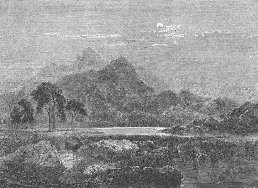 "Associate Product SCOTLAND. ""Loch Ericht-a bright night, "", antique print, 1864"