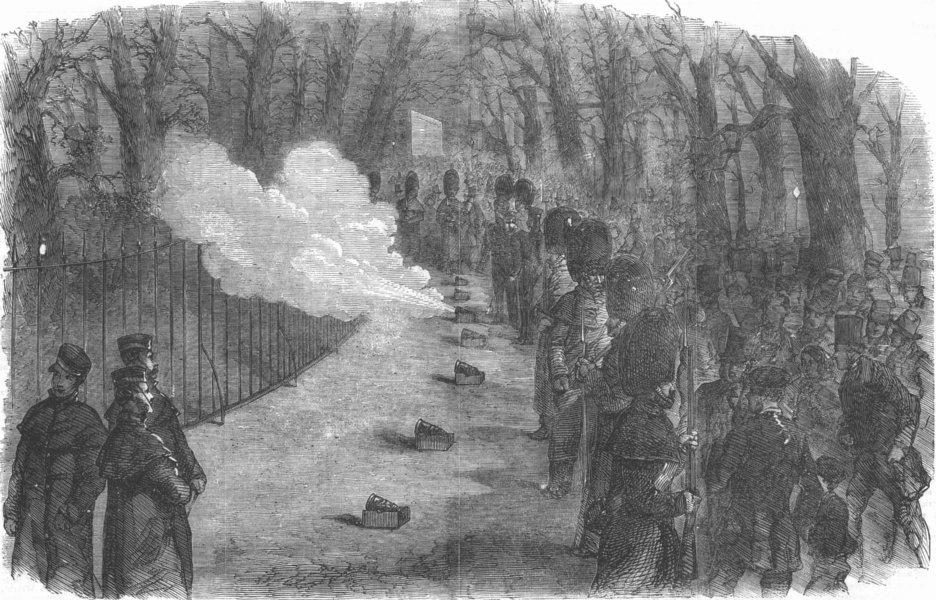 Associate Product LONDON. Firing of the park guns, antique print, 1856