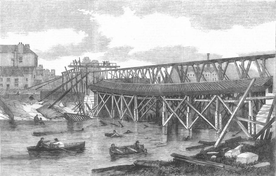 Associate Product YORKS. View of the ruins of Lendal Bridge, York, antique print, 1861