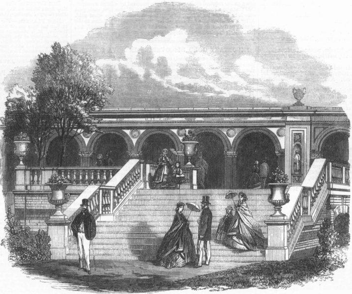Associate Product LONDON. Gardens, South Kensington, antique print, 1861