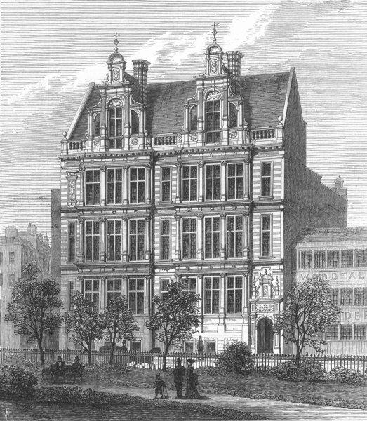 Associate Product LONDON. School board offices, Thames Embankment, antique print, 1874