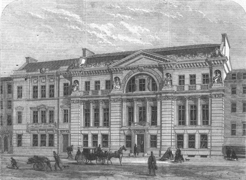 Associate Product LONDON. Freemasons Hall, Queen St, Covent Garden, antique print, 1866