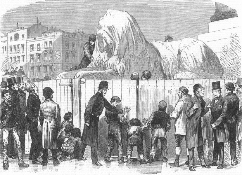 Associate Product LONDON. New Lion, Nelson's Column, Trafalgar-Square, antique print, 1867