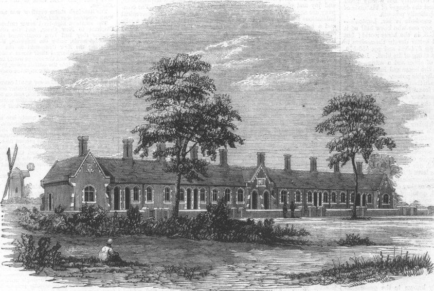 Associate Product NORFOLK. Almshouses at old Buckenham, Attleborough, antique print, 1861