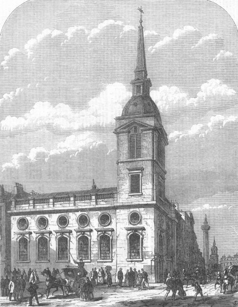 Associate Product LONDON. St Benet church, Gracechurch Street, demolished, antique print, 1867