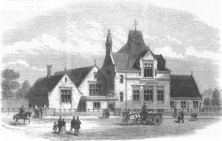 Associate Product LONDON. The Gospel-Oak Schools, Kentish Town, antique print, 1867