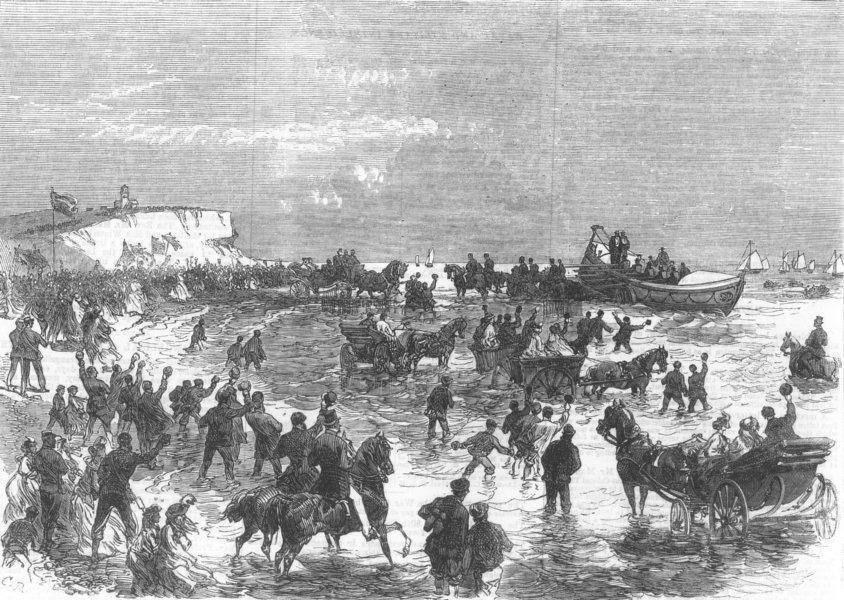 Associate Product NORFOLK. Life-Boat launch at Hunstanton, antique print, 1867