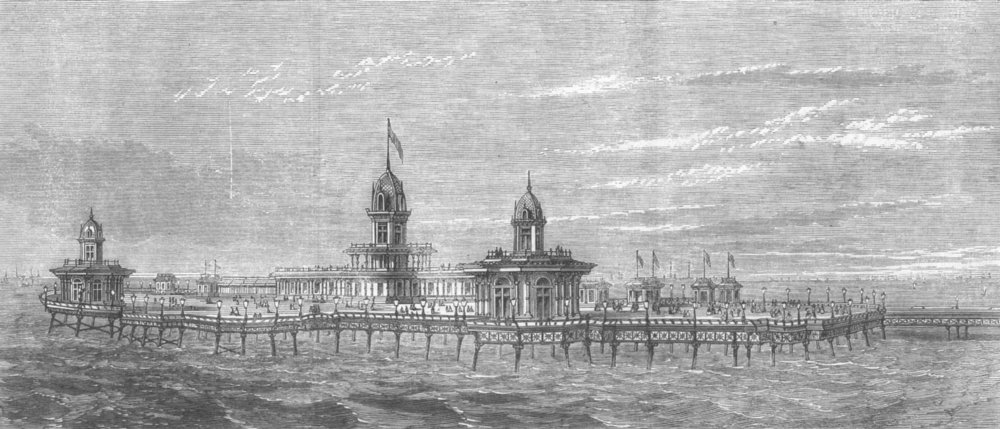 Associate Product CHESHIRE. The new Pier at New Brighton, Cheshire, antique print, 1867