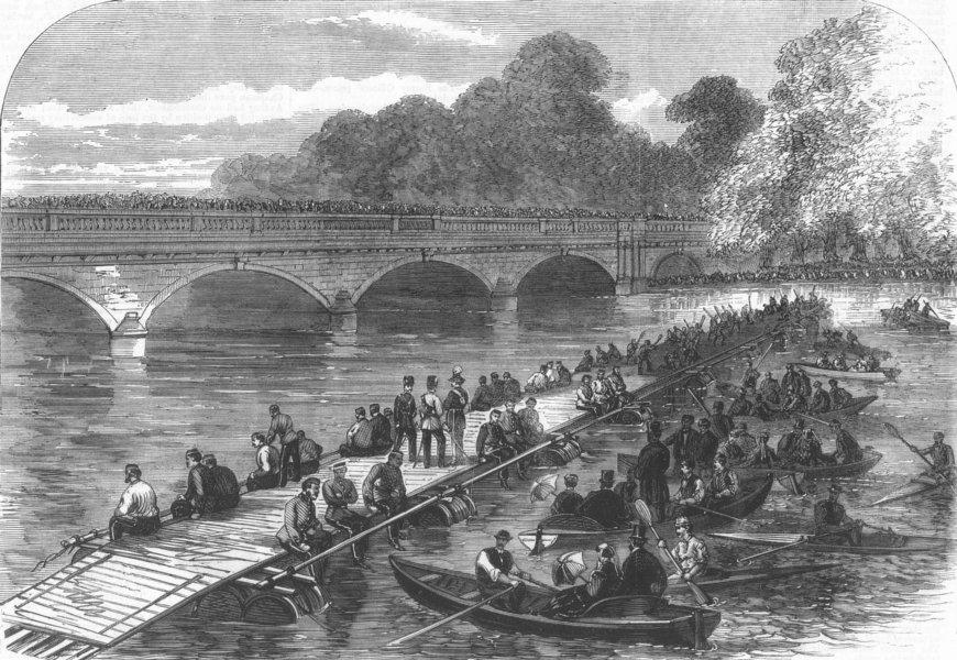 Associate Product LONDON. Engineers making Barrel Bridge, Serpentine, antique print, 1867
