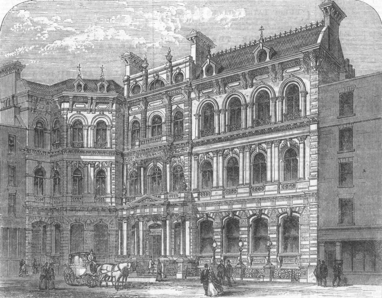 Associate Product LONDON. The new city Clubhouse, antique print, 1866