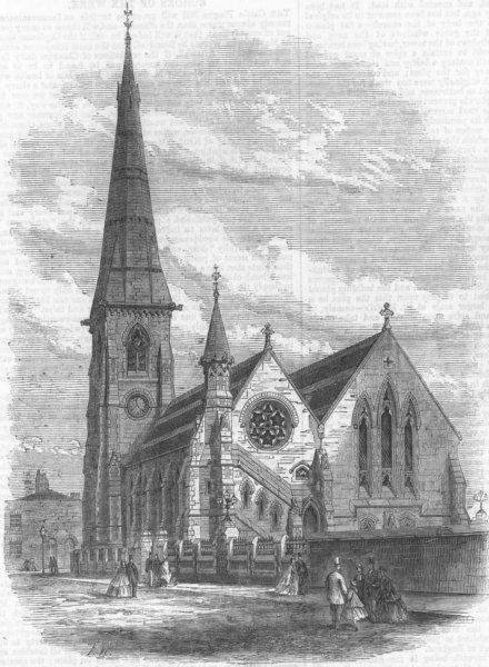 Associate Product LANCS. St Luke's, Chorlton-on-Medlock, Manchester, antique print, 1866