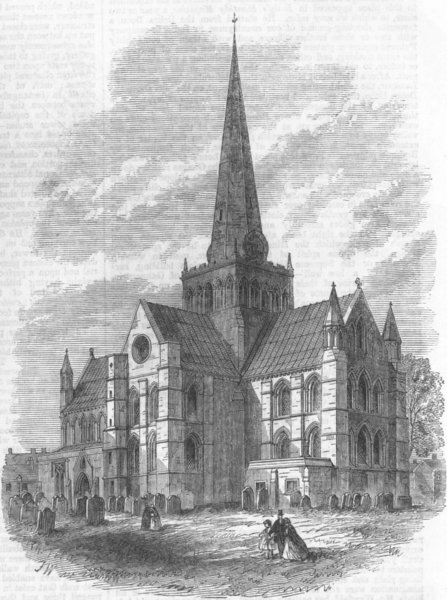 Associate Product DURHAM. St Cuthberts Church, Darlington, restored, antique print, 1866