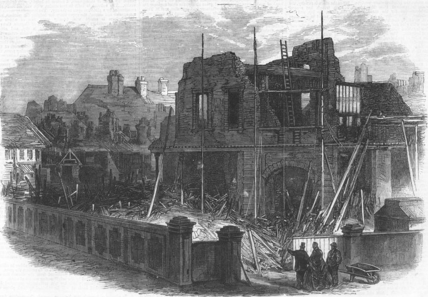 Associate Product YORKS. Ruins of houses destroyed by storm at Hull, antique print, 1866