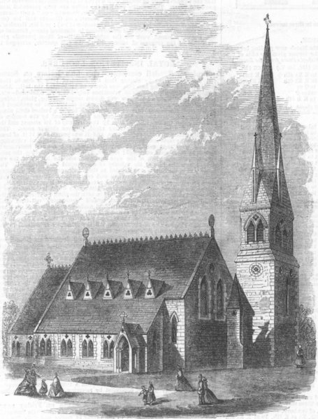 Associate Product LONDON. Church of St Michael & all angels, Hackney, antique print, 1866