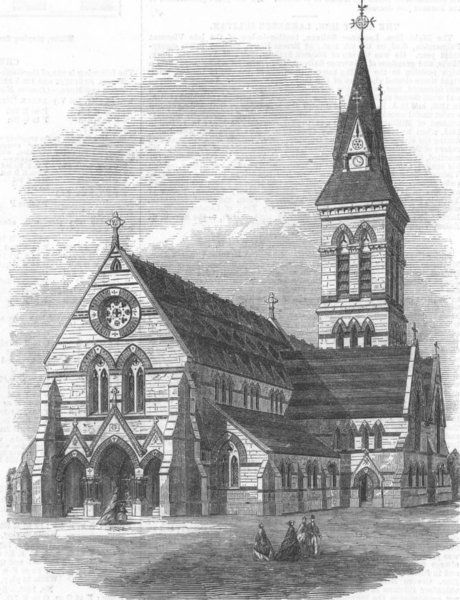 Associate Product KENT. Church of St Michael & all angels, Bromley, antique print, 1866