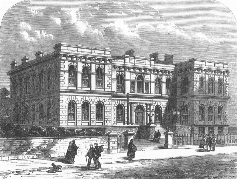 Associate Product CORNWALL. New Public buildings at Penzance, antique print, 1867