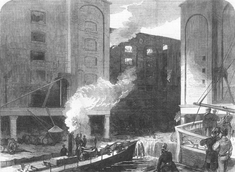 Associate Product LONDON. fire at St Katherine Docks, antique print, 1866