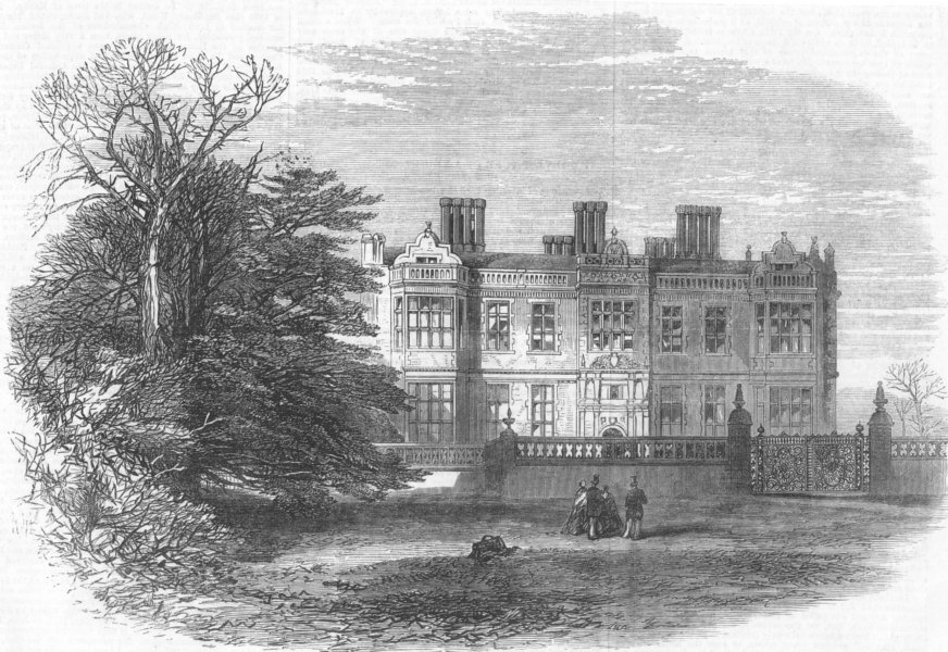 Associate Product CHESHIRE. Crewe Hall, Cheshire, burnt down, antique print, 1866