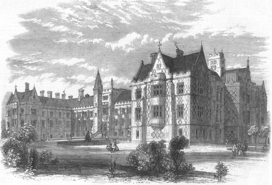 Associate Product LONDON. hospital for TB & chest diseases, Brompton, antique print, 1865