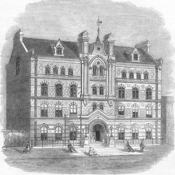Associate Product LONDON. New front of Sailors Home, Well St, Docklands, antique print, 1865