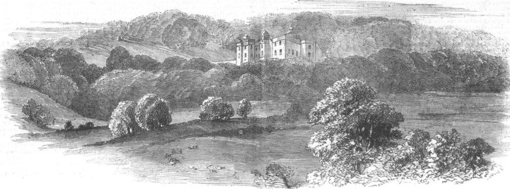 Associate Product STAFFS. Beaudesert, Lichfield, (Marquis of Anglesey), antique print, 1854