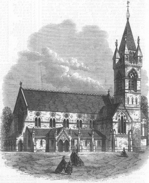 Associate Product WALES. St David's Church, Neath, antique print, 1868