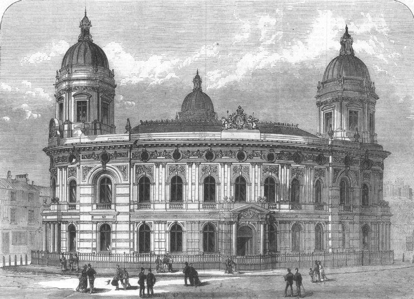 Associate Product YORKS. The new Dock Offices, Hull, antique print, 1871