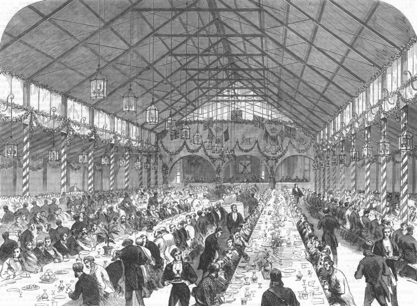 Associate Product NORTHUMBS. Feast, Alnwick Castle for Lord Warkworth, antique print, 1867