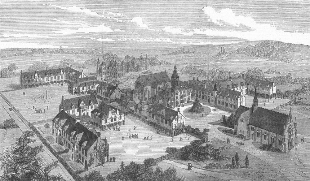 Associate Product LONDON. The London Orphan Asylum, Watford, antique print, 1871