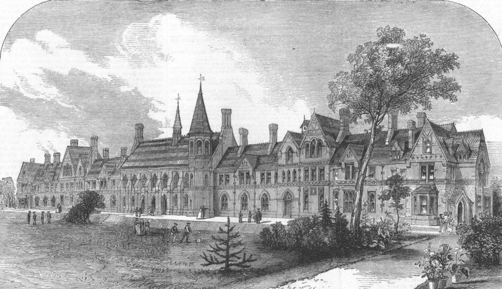 Associate Product BERKS. The new Grammar School at Reading, antique print, 1871