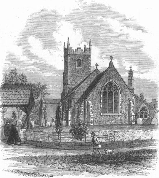 Associate Product NORFOLK. Sandringham Church, Norfolk, antique print, 1863