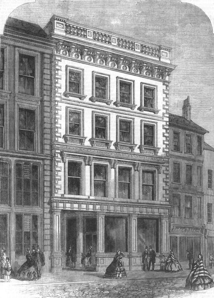 Associate Product LONDON. London & Middlesex Bank, Finch Lane, City, antique print, 1863