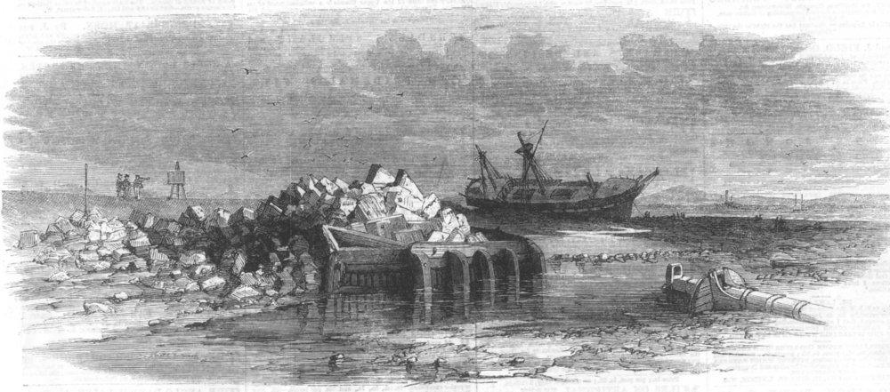 Associate Product LANCS. Ruins of Lytham Lighthouse, antique print, 1863