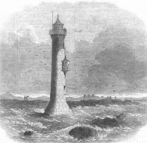 Associate Product LANCS. Lytham Lighthouse, destroyed by gales, antique print, 1863