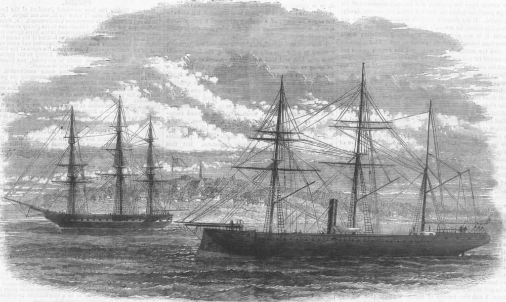 Associate Product LANCS. El Tousson & Conway at Anchor, in the Mersey, antique print, 1863