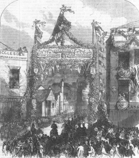 Associate Product KENT. Triumphal Arch in Castle-Street, Dover, antique print, 1867