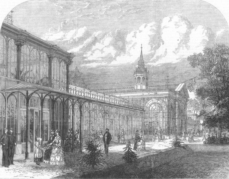 Associate Product DERBYS. The Pavilion in the Public Gardens, Buxton, antique print, 1871