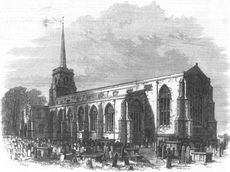Associate Product SUFFOLK. St Margarets Church, Lowestoft, restored, antique print, 1871