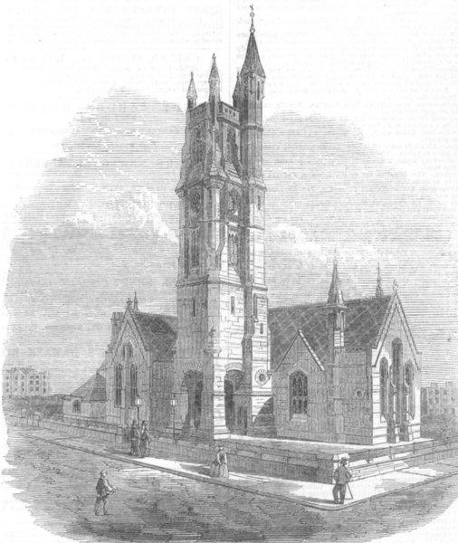 Associate Product LONDON. St Martin's Church, Kentish Town, antique print, 1867