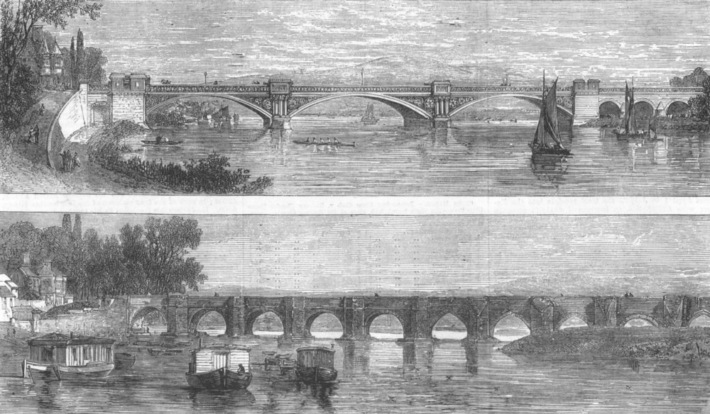 Associate Product NOTTS. Nottingham Bridge, old and new, antique print, 1871