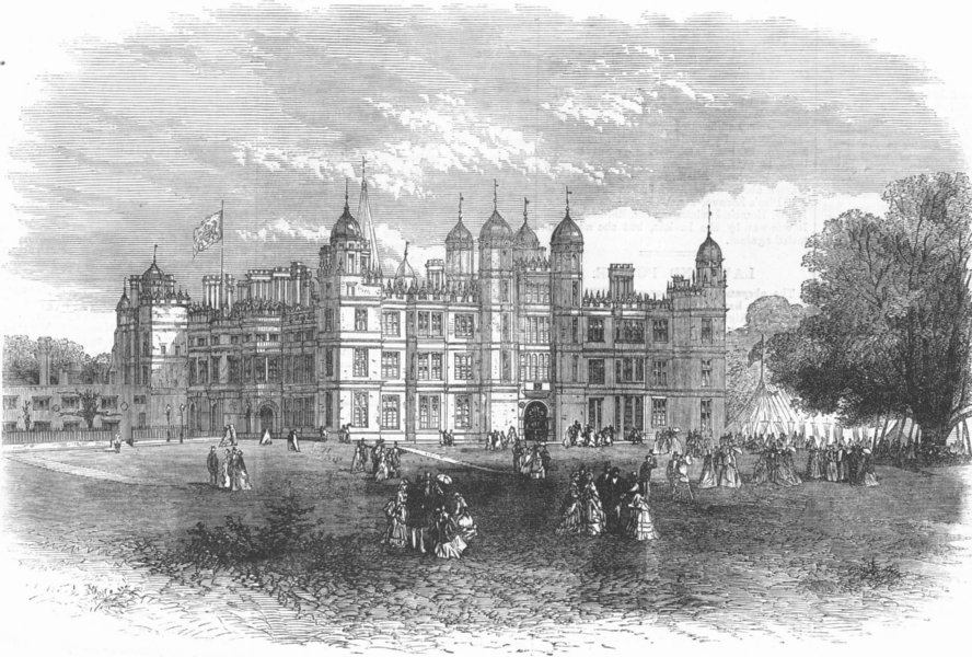 Associate Product LINCS. Burghley House, Stamford(Marquis of Exeter), antique print, 1871