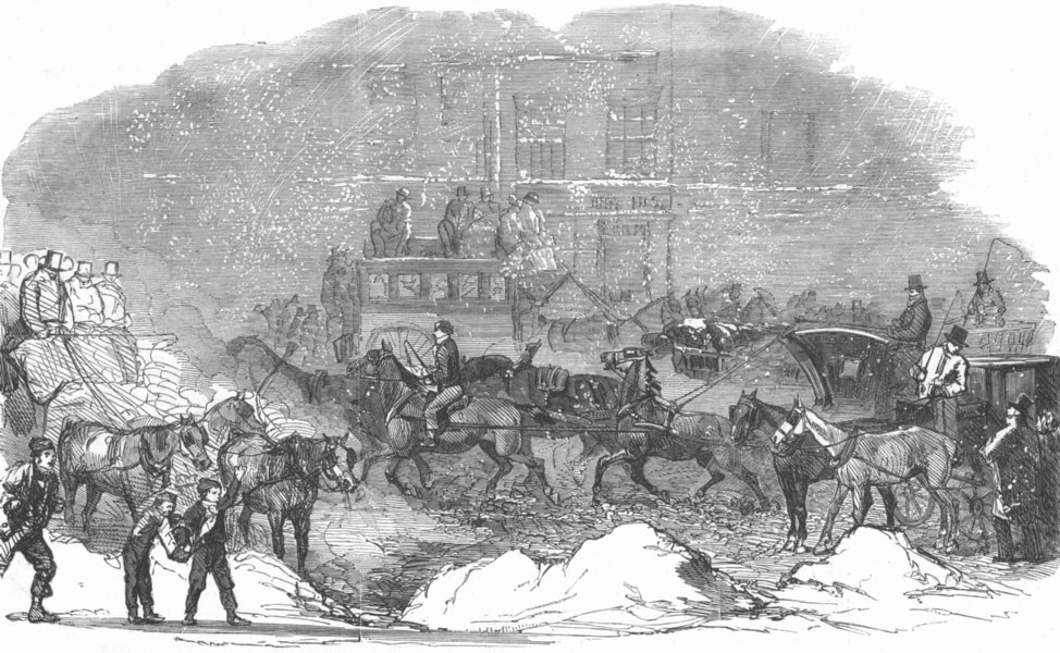 Associate Product LONDON. London St scene during frost, antique print, 1854
