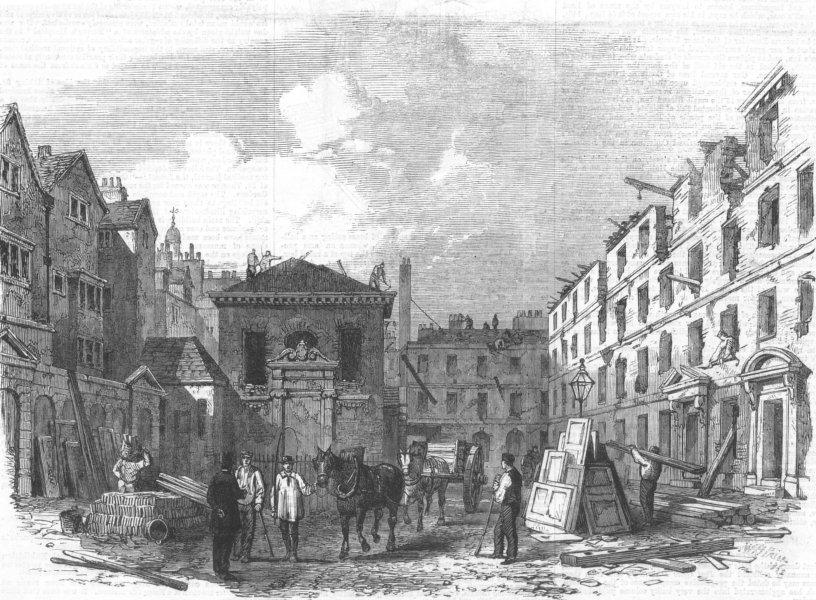 Associate Product FRANCE. Demolition of Lyon's Inn, Strand, antique print, 1862