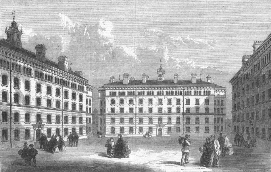 Associate Product LONDON. Peabody-Square, Islington, antique print, 1866
