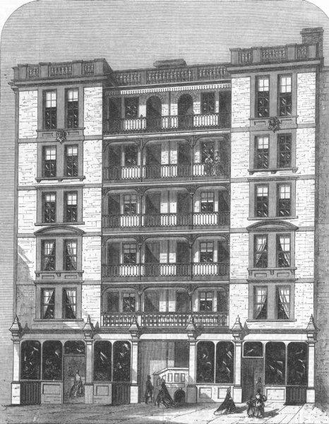 Associate Product LONDON. Corporation Buildings, Farringdon Rd, antique print, 1866