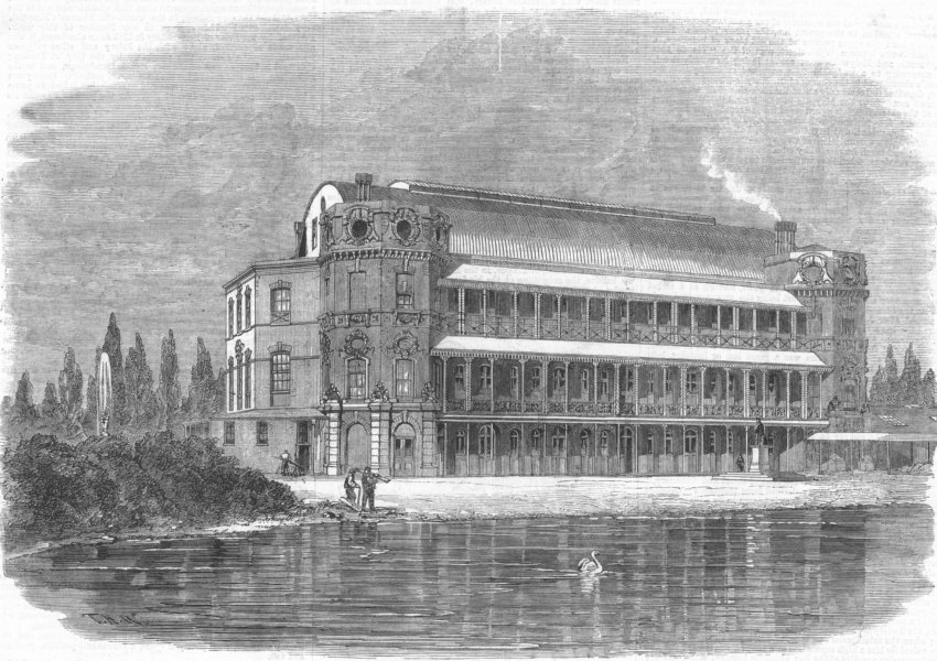 Associate Product LONDON. The Oval. St Thomass Hospital, Surrey Gdns, antique print, 1862