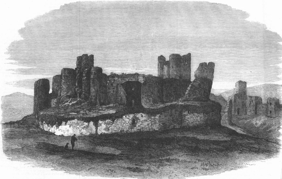 Associate Product WALES. Caerphilly Castle, antique print, 1871