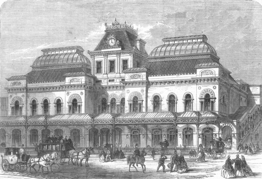 Associate Product LANCS. new Station, Liverpool St, City, antique print, 1866