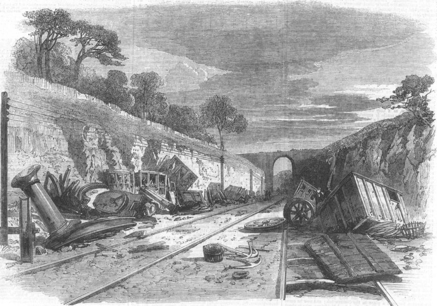 Associate Product SCOTLAND. railway accident at Winchburgh, antique print, 1862